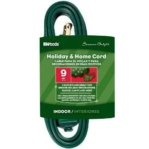 Woods 12601G 9 Foot 3 Outlet Indoor Extension Cords, Green