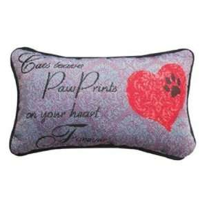 Manual Woodworkers & Weavers Cats Leave Paw Prints Pillow with Corded