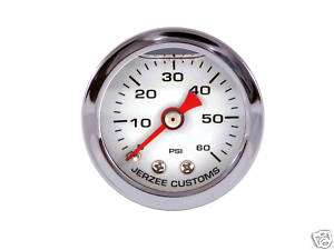 Liquid Filled Oil Pressure Gauge 0 60 psi   WHITE face  Harley