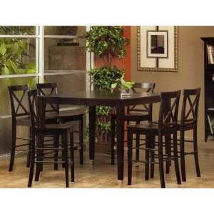 Bayview 7 Piece Solid Top Pub Table Set in Dark Espresso