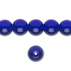#5479 10mm round glass beads, cobalt blue   10 beads Arts