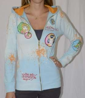 NEW Ed Hardy Long Zip Hoodie Jacket KING DOG S Blue Orange Splatter
