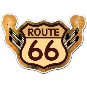 Route 66 Turbo Racing Car Bumper Sticker Decal 5x3.5