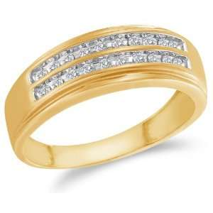 Size 7   10K Yellow and White Two Tone Gold Diamond Two