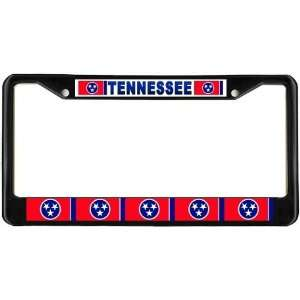 Tennessee Tn State Flag Black License Plate Frame Metal