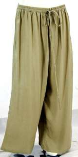 A155 SAND/PANTS WIDE LEG LAGENLOOK RAYON MADE 2 ORDER S M L