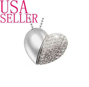Jewelry Heart Pendant USB Flash Drive Memory StickThumb Necklace