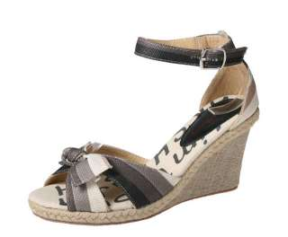REFRESH ROSY 01 Women¡¯s espadrille wedge sandal front upper bow and