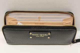 KATE SPADE Wellesley Neda Leather Zip Around Wallet   Black / New With