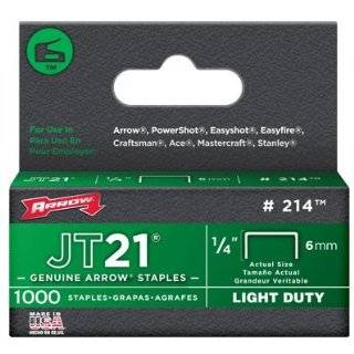 214 JT21 1/4 Flat Crown Light Duty Staples 1000 per Package by Arrow