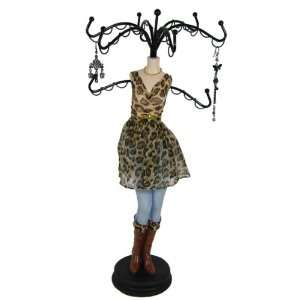 Denim Jewelry Stand Brown Leopard Print Dress 15 Inches