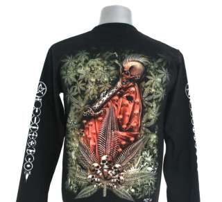 N12 SKULL SMOKE DEATH PUNK ROCK BIKER L/S T SHIRT M