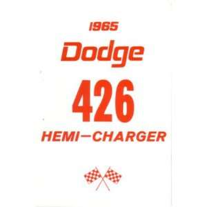 1965 DODGE 426 HEMI CHARGER Owners Manual User Guide