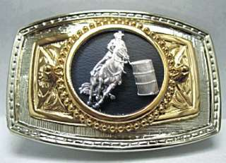 BARREL RACER RACING WESTERN BELT BUCKLE RODEO GOLD/SILVER Made in