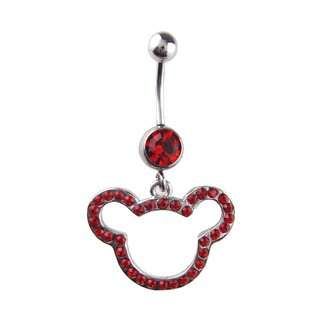 Button Ring   Red Crystal Teddy Bear Belly Button Ring Toys & Games
