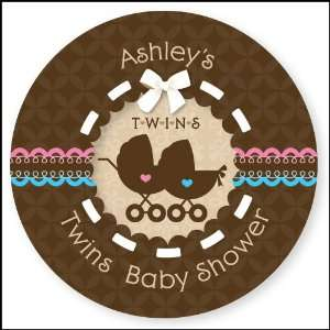 Twin Baby Carriages 1 Boy & 1 Girl   24 Round Personalized