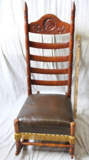 L164 ANTIQUE EGYPTIAN REVIVAL ART NOUVEAU ROCKING CHAIR SPRING SEAT