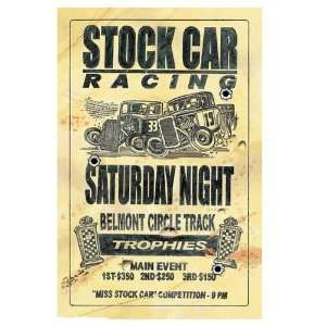 Stock Car Racing Poster Embossed Metal Sign