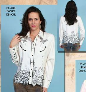 Scully Western Cowgirl Rodeo Show Shirt Butterfly Embroidery Lg