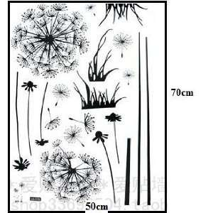 com Flying Black Dandelion  Loft 520 Home Decor Vinyl Mural Art Wall