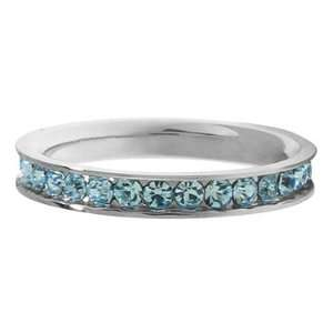 Inox Jewelry Light Blue Cubic Zirconia Band 316L Stainless Steel Ring