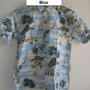 Mens Hawaiian Casual Beach Palm Tropical Scenic Print Button Big Tall