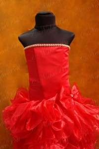 NEW PAGEANT FLOWER GIRL HOLIDAY PRINCESS DRESS 4246 RED SIZE 4 6