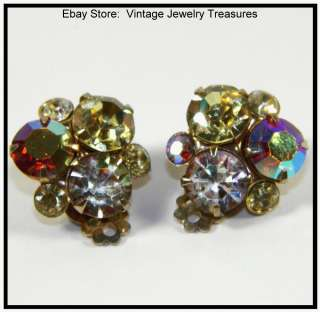 WEISS Yellow Aurora Borealis Rhinestone Gold Clip Earrings MINT