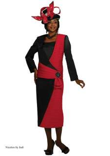 Tango 4712 Womens Red + Black Church Dress Skirt Jacket 3 pc Suit