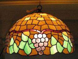 ANTIQUE HANGING ART NOUVEAU STAINED GLASS LAMP SHADE