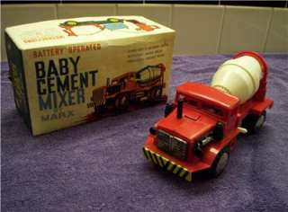 1960s IN BOX MARX BABY CEMENT MIXER TRUCK BATTERY OPERATED TOY NEAR