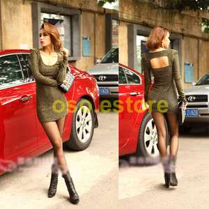 Stylish Sexy High Shoulder Puff Long Sleeve Party Clubbing Dress D752