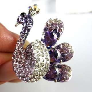 18K GP purple rhinestones crystal peacock open ring