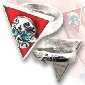 Banderas De Los Muertos Skull Ring with Red Enamelling and