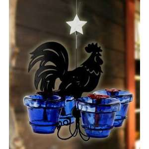Perky Pet HB Harvest Bird Feeder, Metal Rooster with Four Glass Votive