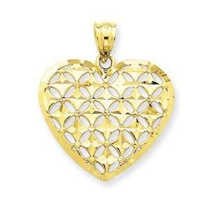 14k Yellow Gold Diamond cut Heart Charm Jewelry