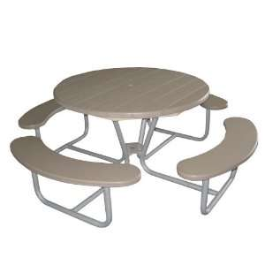 Eagle One Round Greenwood Picnic Table Metal Base  Green