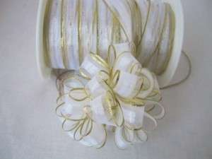 150 FT WHITE ORGANZA GOLD TRIM PULL BOW RIBBON WEDDING