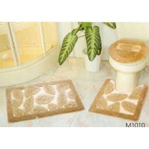 3 PC SETS3D CARPET LEAF M1010 Bathroom Mat Rug Set