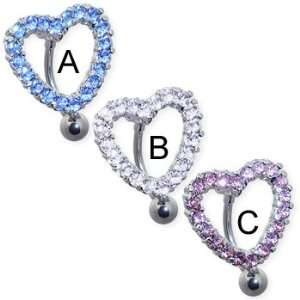 Reversed jeweled heart belly ring, aquamarine   A Jewelry