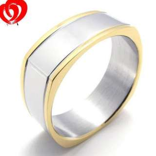Mens Women Silver/Gold Stainless Steel Ring Size 7 12