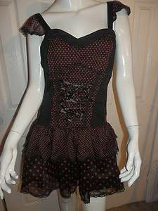 TRIPP BLACK LACE RED DOT LAYER CORSET DRESS JUNIOR SMALL