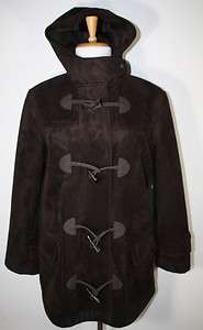 RALPH LAUREN Chocolate Brown Faux Fur Suede Hooded Toggle Coat Jacket