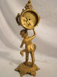 Antique VICTORIAN Art Nouveau NEW HAVEN Old FIGURAL Cherub CLOCK