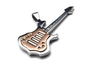 Mens 316L Stainless Steel Guitar Pendant Necklace Chain