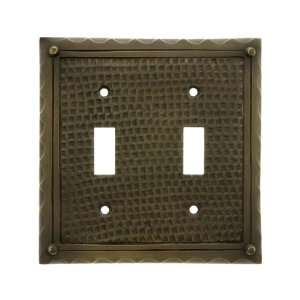 com Bungalow Style Double Toggle Switch Plate In Antique Brass