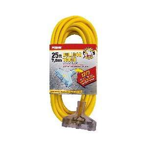 Lighted End Triple Tap Extn Cord 12/3 15 Amp Yellow