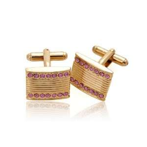Stripe with Rhinestone Quality Cufflinks , Gold Pink Stone Jewelry
