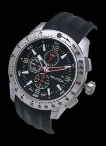 2011 MENS NAUTICA BLACK RUBBER 100M CHRONOGRAPH SPORTS WATCH