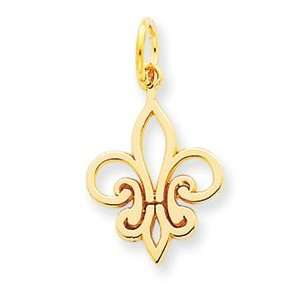 14k Fleur De Lei Charm   Measures 23.1x12.8mm   JewelryWeb